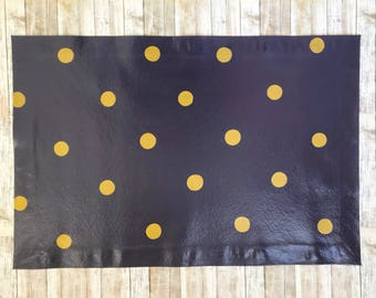 Polka Dot Floor Cloth, Hand Painted Canvas Rug, Floorcloth,