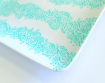 Hand Painted Jewelry Plate (Aqua Waves)