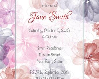 Pink & Gray Flower Invitation