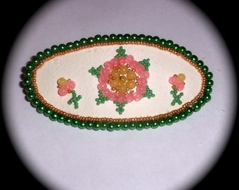 Summer Flower Barrette for Everyday Wear Hand Woven Beaded Boho Fashion Ethnic Cottage Chic victorian regency