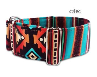 tribal dog collar aztec, southwest, boy dog collar, aztec dog collar. martingale, buckle or tag collar; custom; S- XL, greyhound collar