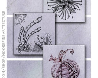 LILAC WATERCOLOR ZENTANGLE Tiles - Printable Download Collage Sheet 6 Digital Cards 3.5x3.5 inches