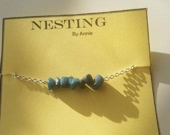 Teal stone Chain bracelet
