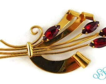 Gilt silver Art Deco style STERLINGCRAFT BY CORO brooch 1940!