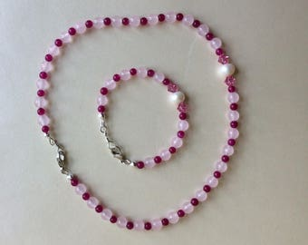 Girls pink chalcedony necklace and bracelet set with freshwater pearl and Swarovski crystal accent beads