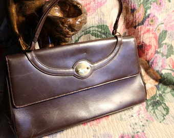 Made by Paristyle - Vintage Brown Leather Skinny handbag