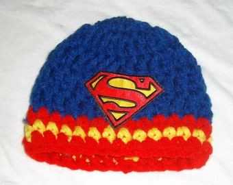 Hand crochet chunky Superman hat photo prop beanie hat newborn to adult