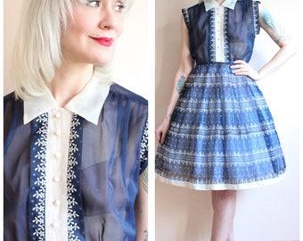 1950s Dress // Kerrybrooke Flocked April Dress // vintage 50s dress