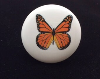 Monarch Butterfly Ceramic Knob for Furniture, Drawers, Cabinets, Crafts