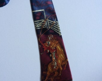 Vintage Clothing Retro Mens Changill Silk Tie Cowboy design