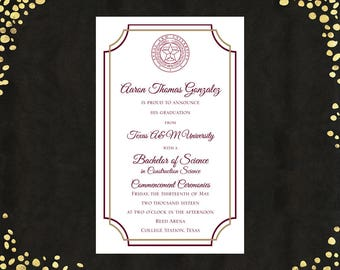 Qty. 25 College Graduation Invitations Announcements Bachelor's Degree Value Announcements Graduation Announcements with WHITE ENVELOPES