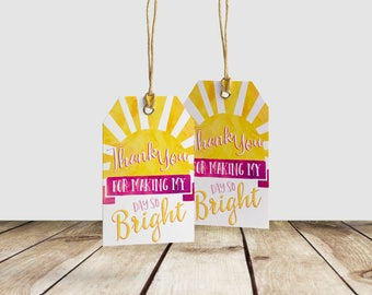 Our Little Sunshine Birthday Favor Thank You Gift Tag - 2x3 DIY Printable Tags - Thank for making my day so Bright Thank You Favor Gift Tag