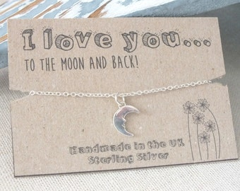 Sterling Silver Moon Bracelet, I Love you to the Moon and Back, Dainty Moon Bracelet, Crescent Moon Bracelet, Man in the Moon
