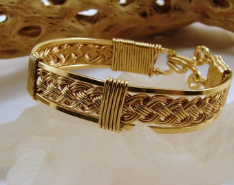 Red Brass Hand Woven Bracelet, Nugold Hand Woven Bracelet
