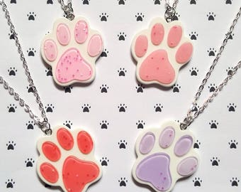 Glitter pawprint necklace, Pawprint necklace, Pendant necklace, Pawprint pendant, Glitter, Animal, Pawprint, Animals, Animal lover gift
