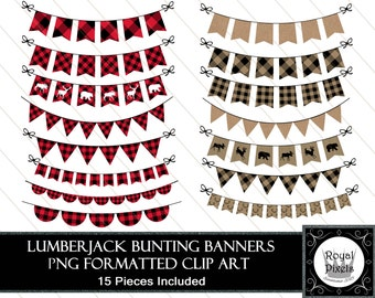 Lumberjack Style Bunting Banners - Clip Art - 15 Pieces Included - PNG Files #89