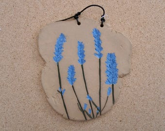 Lavender plaque, Ceramic wall art with lavender, botanical wall art, country home decor LP2