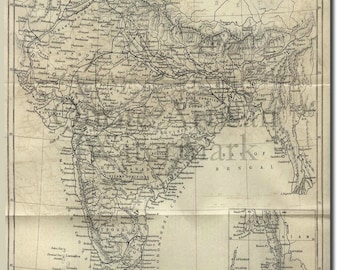 Reproduction of a Vintage Map of India from 1882 - Fantastic Photo Poster Print - Old Archive Cartography