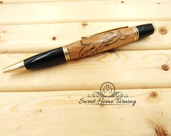 Horse Art Inlay Pen  |  Gold &  Black Sierra  |  Horse Pen  |  Horse Inlay Pen