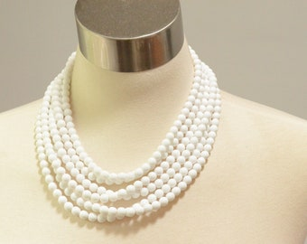 Michelle - White Glass Bridesmaid Necklace Multi Strand Necklace Statement Necklace