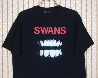 The Swans vintage rare t-shirt, double sided Filth tee, black, Michael Gira, Jarboe, No Wave, Sonic Youth, XL