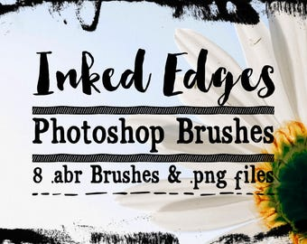 Inked Edge Photoshop Brushes ClipArt - Grunge Chalked or Ink Edges Digital Stamps, 8 .abr brushes, Ink Clipart, Ink brushes, Photoshop Ink