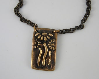 Bronze Daisy Necklace, Antique Bronze Necklace, Bronze Flower Necklace, Antique Copper Necklace, Floral Necklace, Artisan Necklace Gift