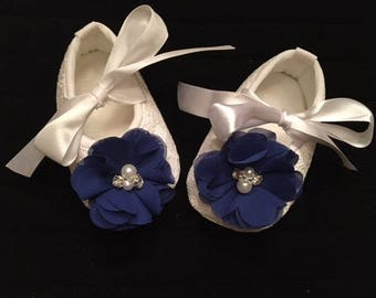 White Lace Baby Shoes - White Shoes with Royal Blue Flower Accent - Flower Girl Baby Shoes - Baby Dress Shoes