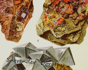 Niccolite Zinnober Mispickel Arsenopyrit Ore Kristallstein Mineral Jahrgang Lithographie Edwardian Geologie Druck zu Rahmen 6