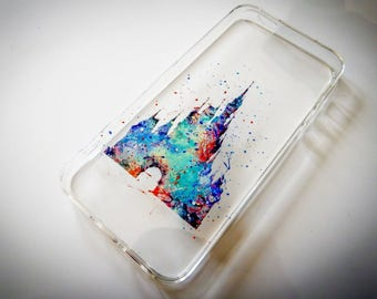 Disney Castle iPhone Watercolour Princess Characters Phone Cover Case 5 5c 6 7 8 X or Samsung Galaxy J3 2017 J5 2017 S7 S8 S9