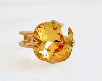 Citrine yellow crystal ring - topaz ring - Swarovski crystal ring - square cut ring