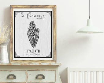 French Cottage Style Seed Packet Printable - Hyacinth