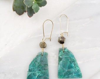 Chrysocolla and Geometric Pyrite Earrings, Gold Filled