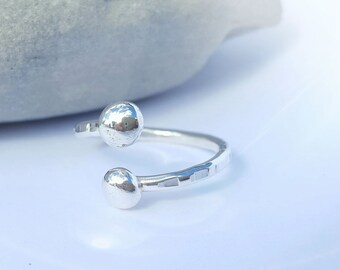 Sterling Silver 925 Textured Adjustable Ball Ring / Thumb Ring with Sterling Silver Balls by Silverbird Designs UK