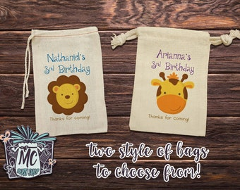 10 Jungle Animals Cotton Muslin Birthday Party Favor Bag - Jungle Safari Birthday - Zoo Animals Birthday - Set of 10 bags -