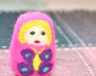 A Charming Pink Lady OOAK Needle Felted Doll