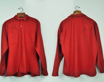 1960's McGregor Shirt 100% Wool // Made in U.S.A // Long Sleeve Wool Hunting Shirt Grunge Vintage // XL