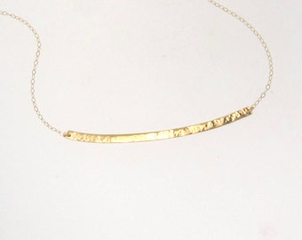 Gold Bar Necklace, Curved Bar Stick Necklace As Seen On Kristin Cavallari - Hand Forged, Hammered 14K Yellow Gold
