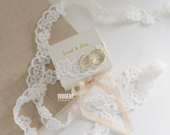 Personalized ring box with natural linen & wedding lace and names + weddingdate foilpressed on/ inside  the cover