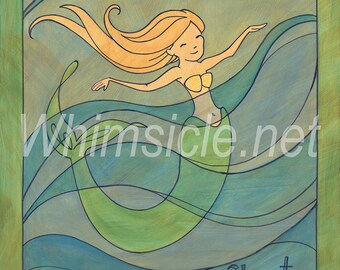 "Mermaid Art Print inspired by fortune cookies ""Float"" matted"