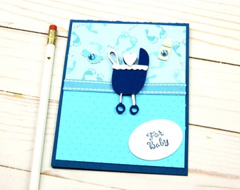 Welcome Baby Cards - Its A Boy Card -  Baby Shower Cards - Blue Baby Buggy - Baby Greeting Cards - Stampin Up Card - Cricut Cards