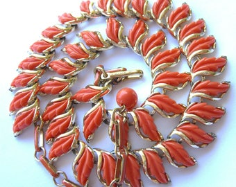 Vintage Lucite Necklace Signed Coro Salmon Coral Leaves 1950s Choker Retro Jewelry