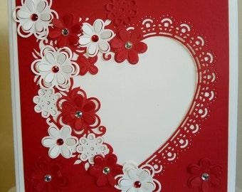 Red on white Valentine card