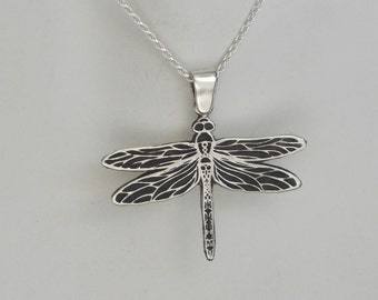 Sterling Silver Dragonfly Pendant Dragonfly Necklace Made in Montana Fine Jewelry Gift Damselfly Necklace Anniversary Gift for Wife Birthday