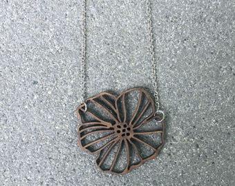 Laser Cut Flower Necklace \\ Laser Cut Jewelry \\ Silver Chain