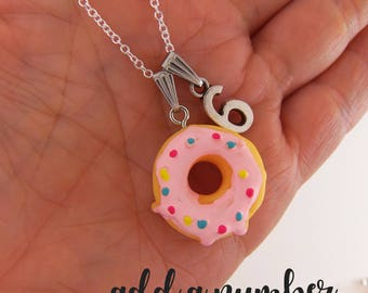 Custom donut necklace, custom birthday gifts, personalized birthday necklace, girl birthday jewelry party favors, little girls, pink jewelry