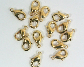 12mm x 7mm Lobster Clasps - Gold Plated - Your Quantity