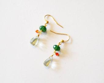 Green Amethyst 14k Gold Earrings / 14k Gold Green Amethyst Carnelian Earrings / Small Amethyst Earrings / Tiny Green Orange Gold Earrings