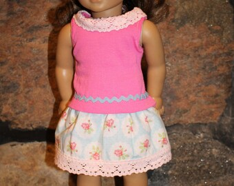 18 inch doll clothes - pink and flowered outfit - top and skirt - American made to fit 18 inch doll