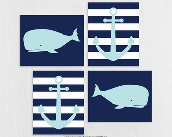 CANVAS Whale Wall Decor - Nautical Wall Art - Ocean Theme Bedroom - Sea Theme Kids Room - Whales and Anchors Art for Kids Bedroom